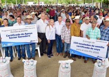 Entregan 100 toneladas de semilla de soya a productores de Altamira