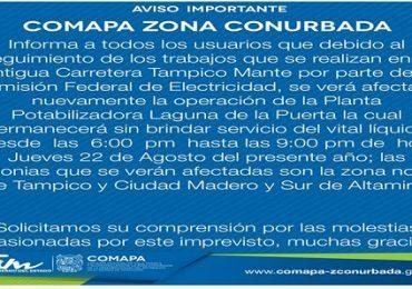 Suspenderá COMAPA  agua a Zona Norte de Tampico