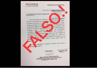 Improcedente oficio que avala a Lilia Canturosas como coordinadora de diputados de Morena