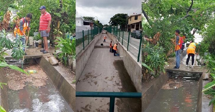Ante Pronóstico de Lluvias Intensifican Tareas de Limpieza en Drenes Pluviales