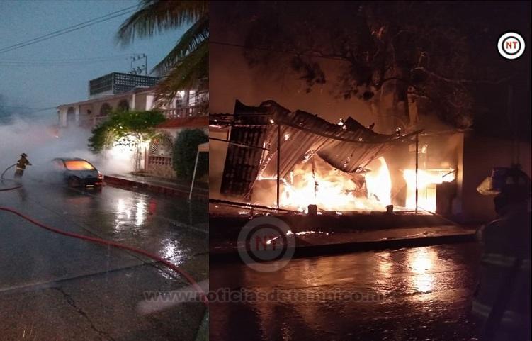 Se registra incendio de negocio y vehículo por presunta caída de rayos.
