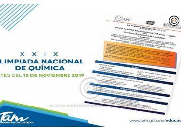 Se invita a la XXIX Olimpiada Nacional de Química Etapa Regional Tamaulipas.