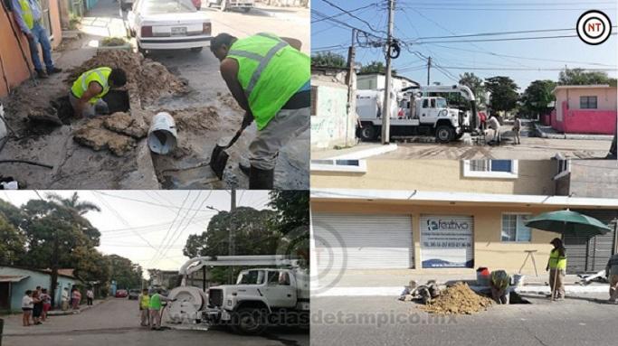 Atiende COMAPA en Tampico Fugas de Drenaje y Agua en Calles