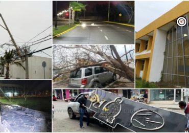 FF 41 provoca en Madero la caida de arboles, cables, postes de alumbrado y una barda.