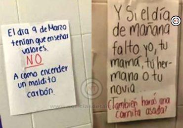Con «tendedero» alumnas reclaman a compañeros por hacer carne asada en Un Día sin Mujeres