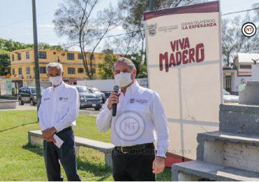 Gobierno de Adrián Oseguera inicia rehabilitación de importante plaza