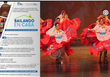 """Cultura Tamaulipas convoca a todos los bailarines y bailarinas de danza folclórica del Estado a participar en el concurso """"bailando en casa""""."""