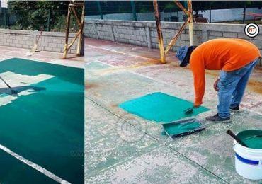 Realiza Gobierno Municipal mantenimiento en espacios deportivos